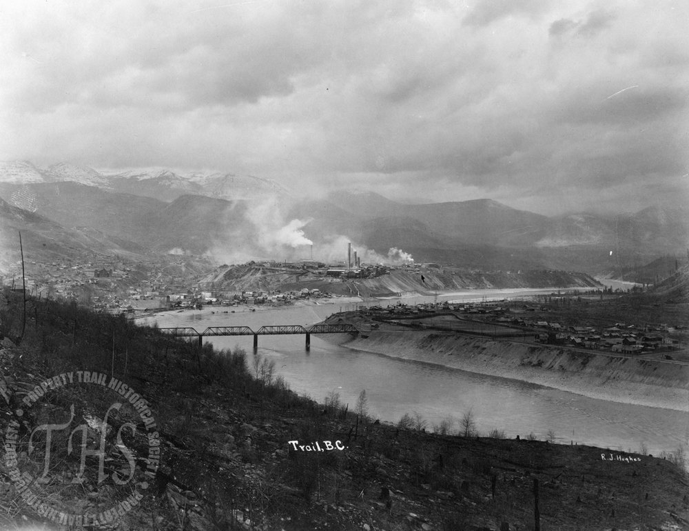 Smelter & Old Bridge from Casino (Hughes) - 1925