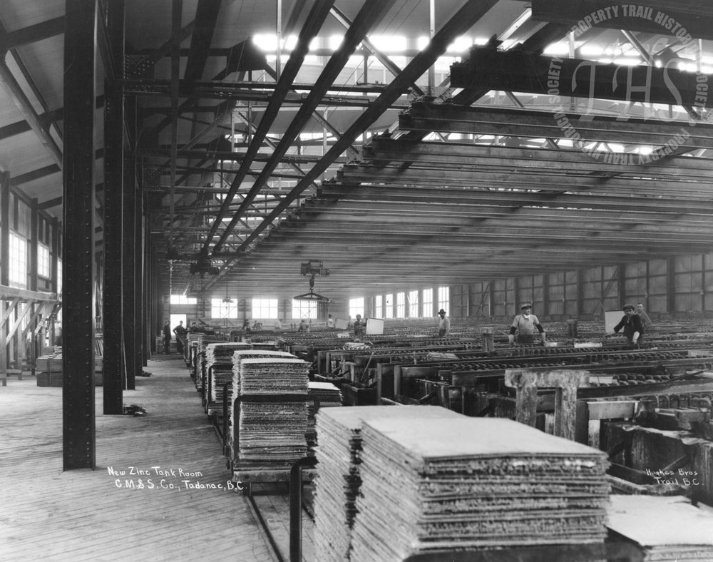 Zinc tank room, Trail Smelter (Hughes) - 1925
