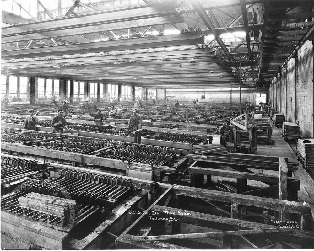 Zinc tank room, Trail Smelter (Hughes) - 1928