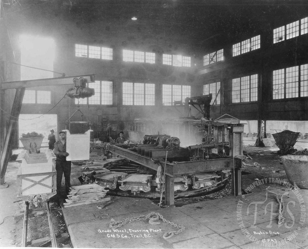 Anode wheel in drossing plant, Trail Smelter (Hughes) - 1928