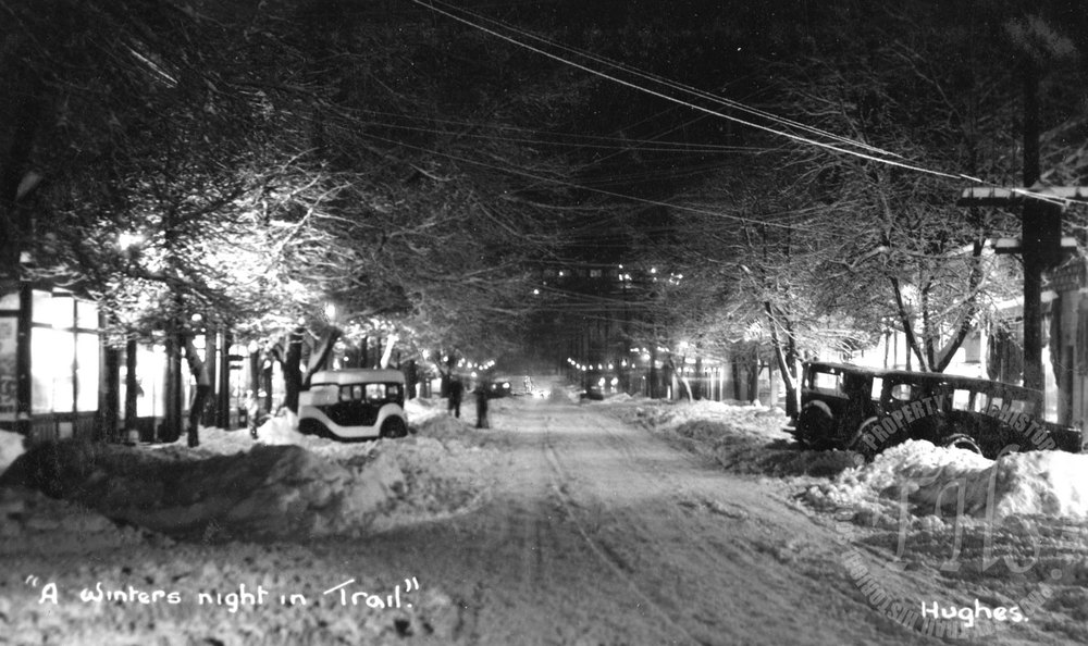 Wintry night in Trail (Hughes) - 1925