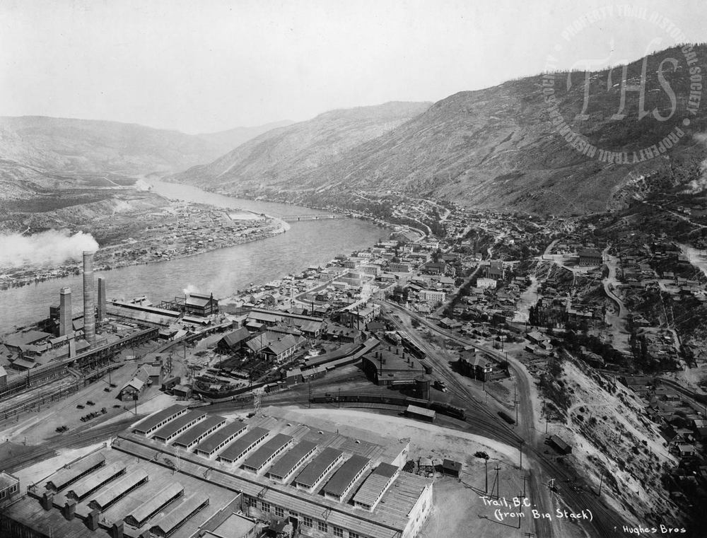 "View of Trail Smelter from ""the big stack"" (Hughes) - 1930"