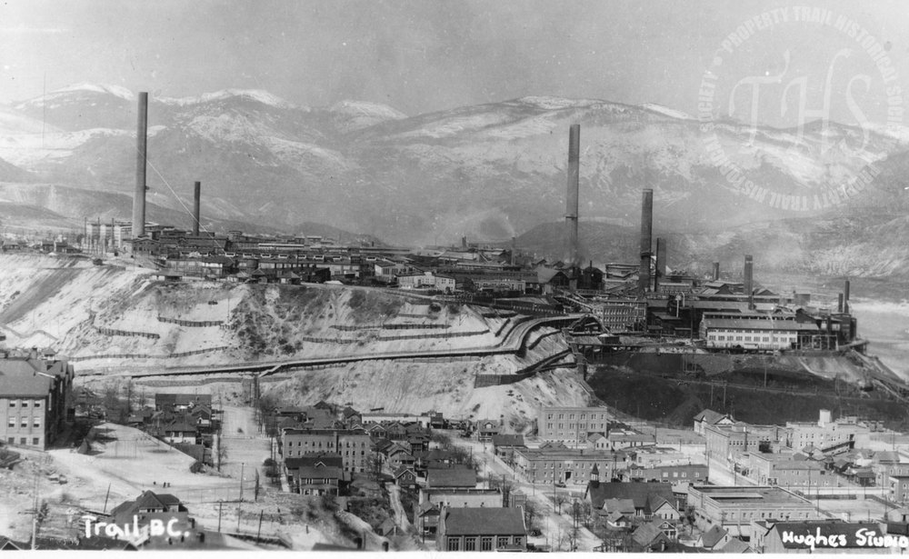 Trail Smelter and Downtown  (Hughes) - 1930