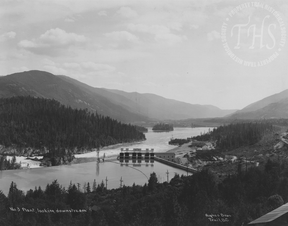 South Slocan plant, looking downstream (Hughes) - 1930