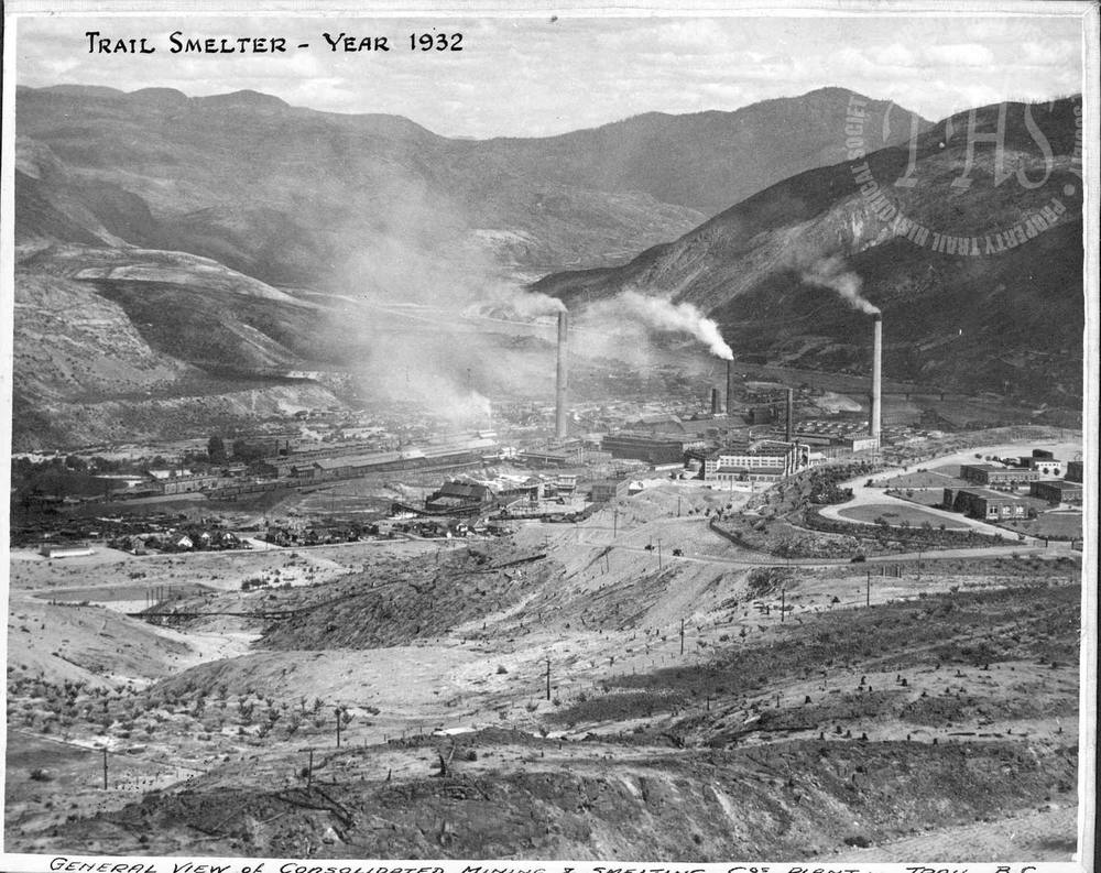 Trail Smelter from above Warfield (Hughes) - 1932