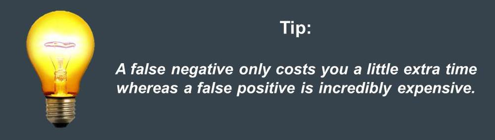 a false positive hiring decision is incredible expensive whereas a false negative only costs you little time tip for blog