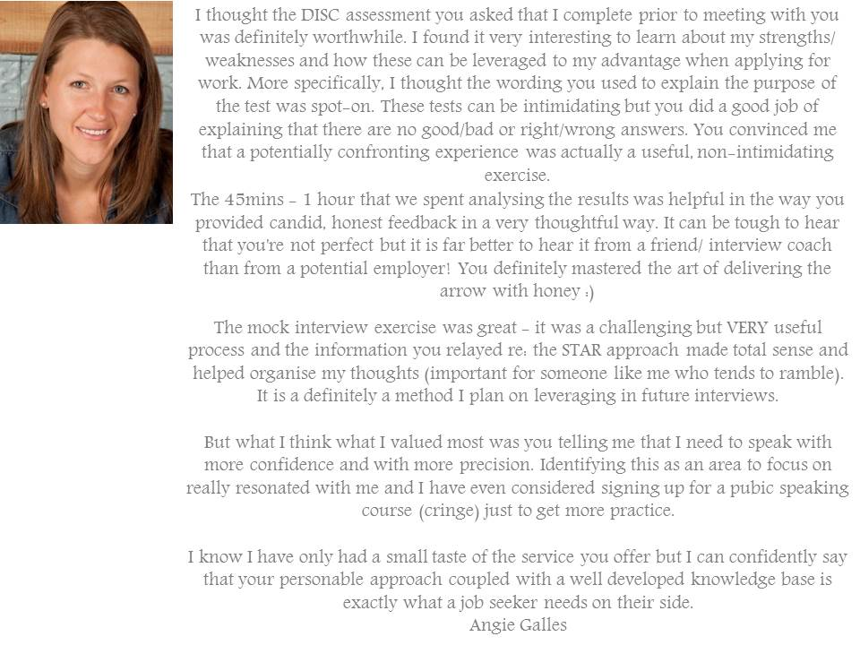 Testimonial for Professional Interview Coaching