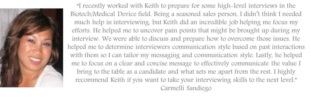 Testimonial about Professional Interview Coaching for Job Seekers