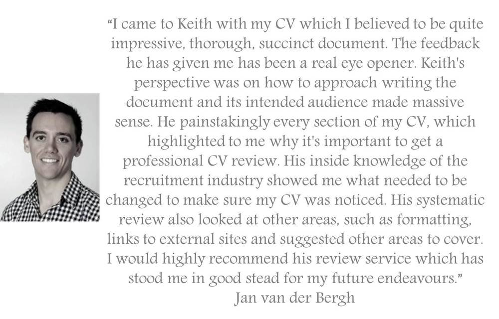 Testimonial for the Manager Foundation resume review and resume writing service for job seekers