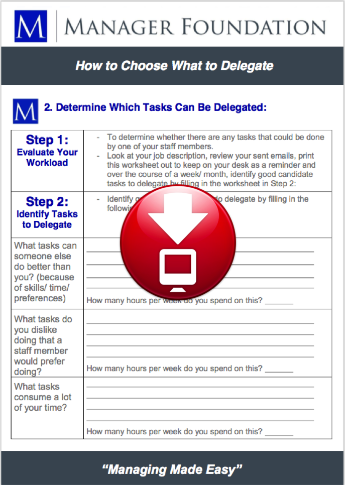 Delegation Tool - How to Identify What to Delegate Worksheet