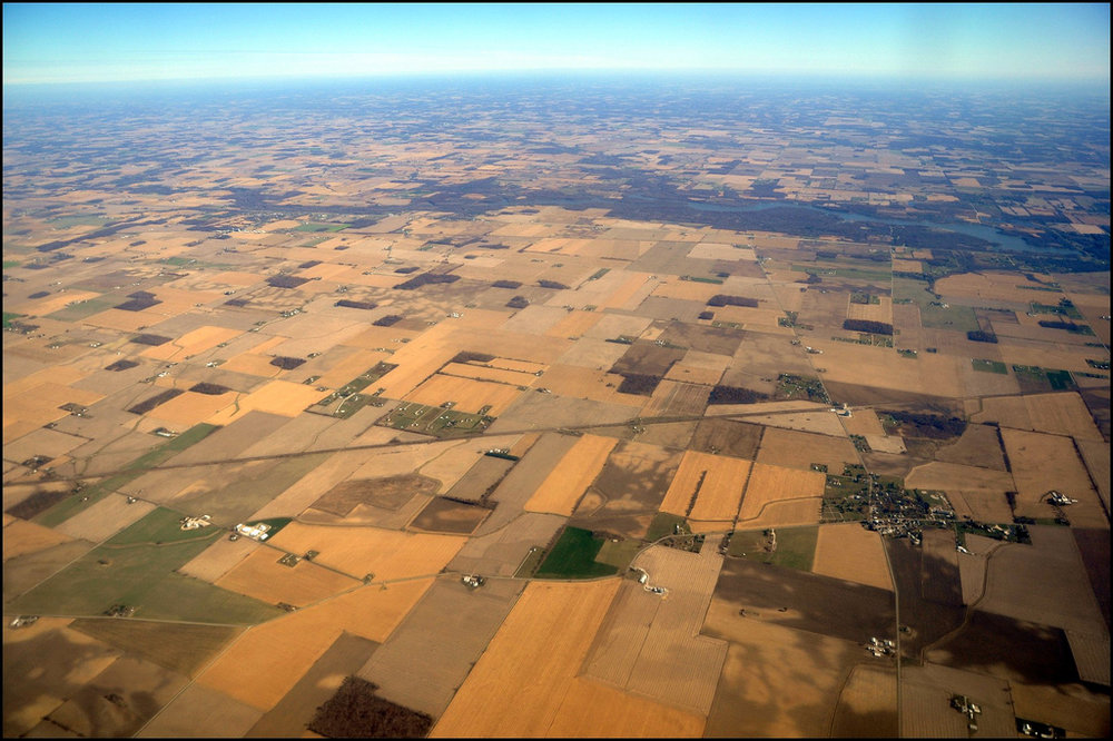 Aerial view of Midwestern farmland.