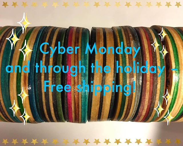 BOOYAH! Cyber Monday and through the holiday free shipping!! #cybermonday #recycledgoods #recycledskateboards #upcycledjewelry