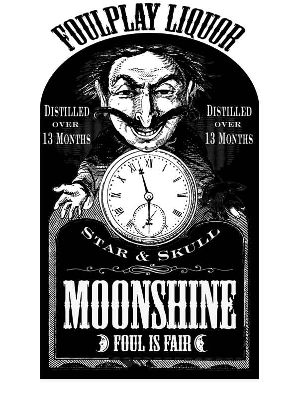Label for the 'other whiskey' as the Sun and Moon (owners of the 'Star and Skull Saloon', in which the audience found themselves) slowly stitched up everyone in the venue...