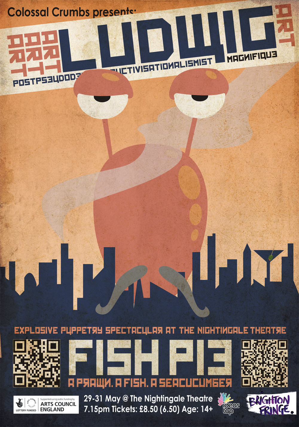 Poster design 1 of 3, for Colossal Crumbs' puppet show FISHPIE. This poster was the WINNER OF THE BRIGHTON FRINGE IMPACT AWARD 2013