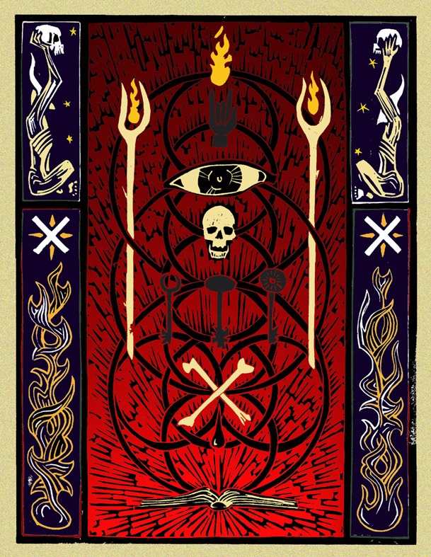 Lino Print (digital colour) diagram plotting the principle iconography of IXI Sorcery. 2005