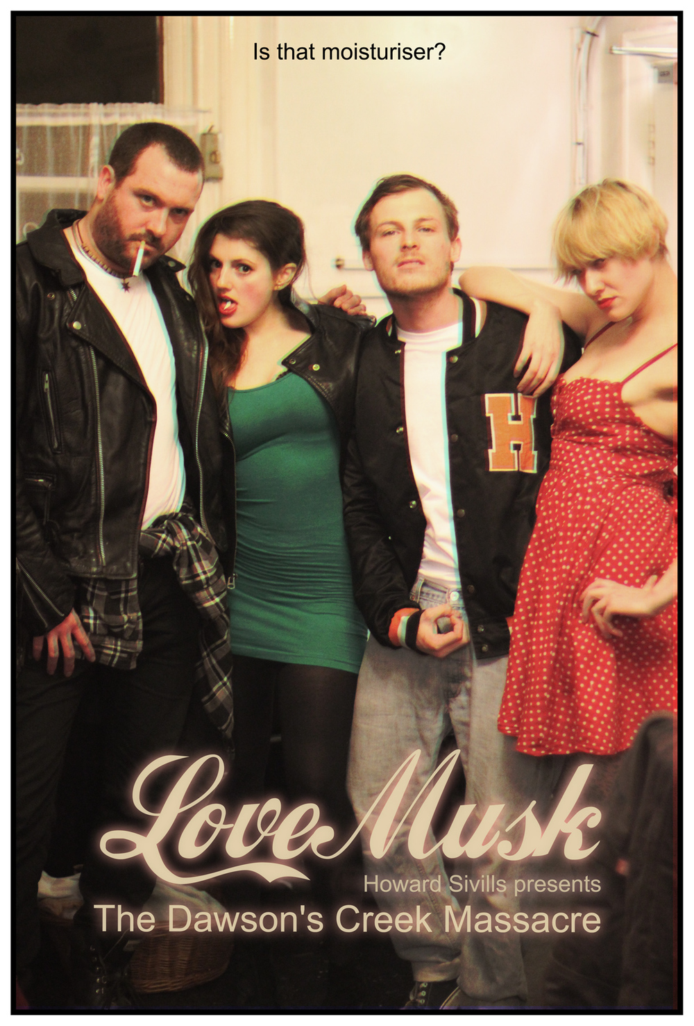 Poster for the troubling performance work 'Love Musk' by Howard Sivills (second from right)