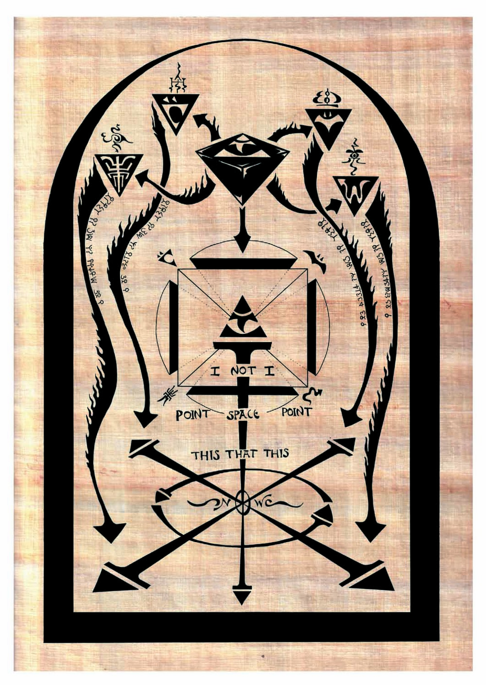 One of five plates that featured in the Totemic Invocation of the Shadow Selves by Jack Macbeth, 2002. This specific diagram details the role of the 'Black Stone' as central fetish/icon for the ritual. This image dates from 2001.