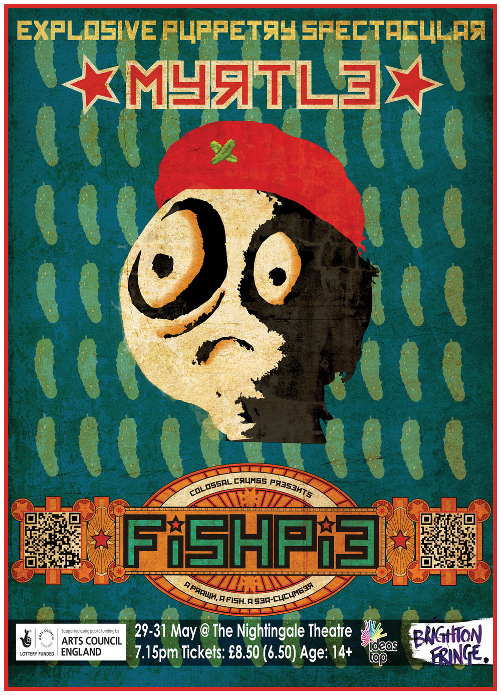 Poster for Colossal Crumbs 'Fish Pie' puppetry show for Brighton Fringe 2013. Part of a set of three (including 'Ludwig' & 'Cuthbert')