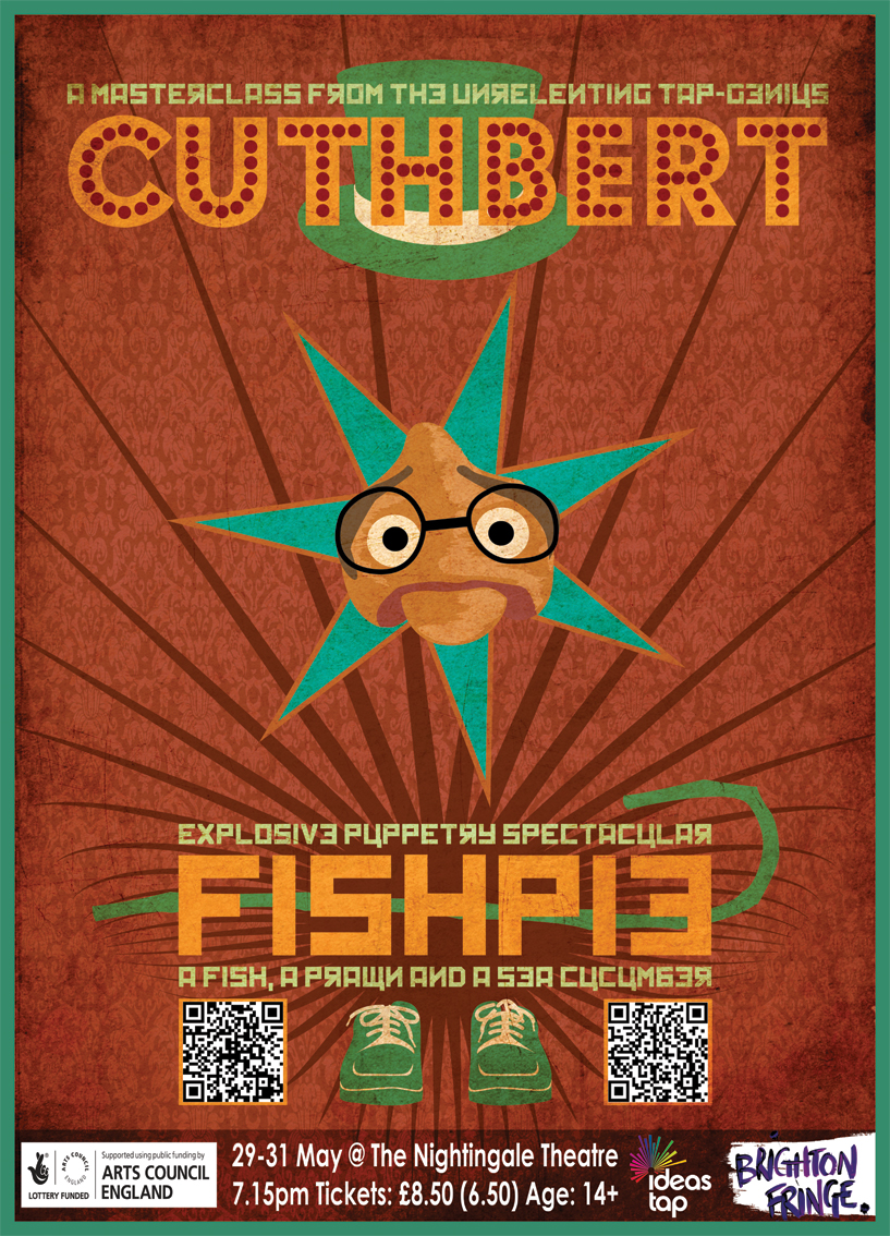 One of three posters in a set for the Colossal Crumbs puppet show 'Fishpie' in Brighton's Fringe Festival 2013.