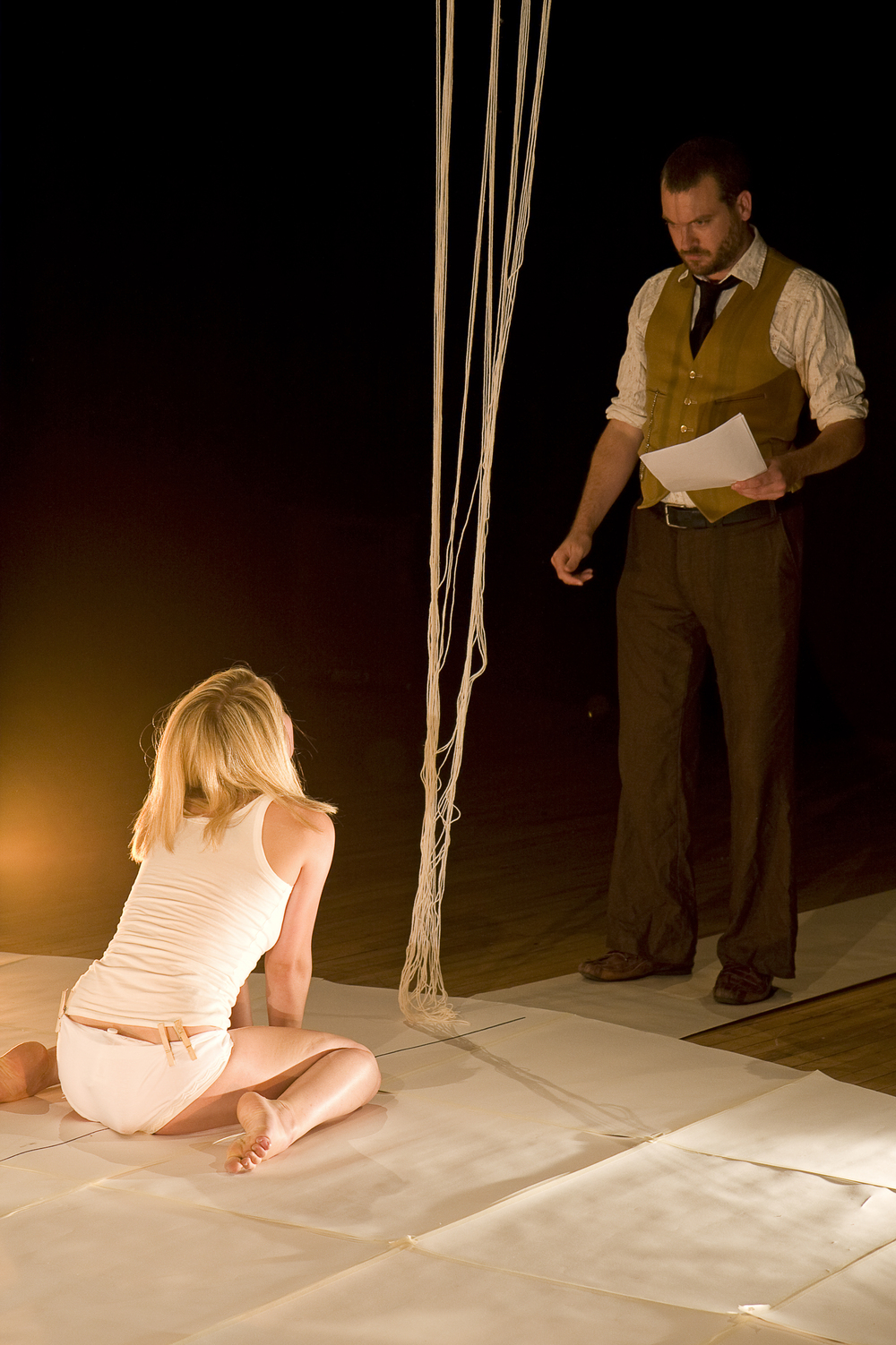 Performing as the 'father' in the autiobiographical dance-performance 'The Undress' by Han Nicholls. 2009.