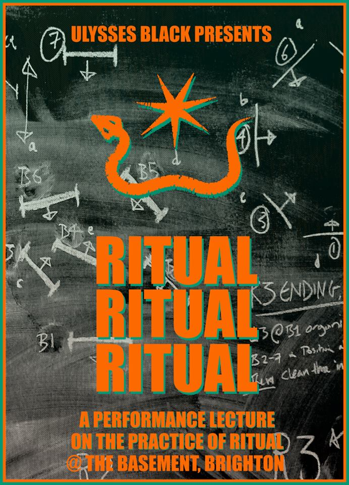 Revised poster for Octobers showings of Ritual Ritual Ritual. Astute observers will note that the chalk diagrams form the black board choreography as drawn on Blackboard 1 within the 1st lesson, and then subsequently employed throughout the show. October 2013, @ The Basement, Brighton