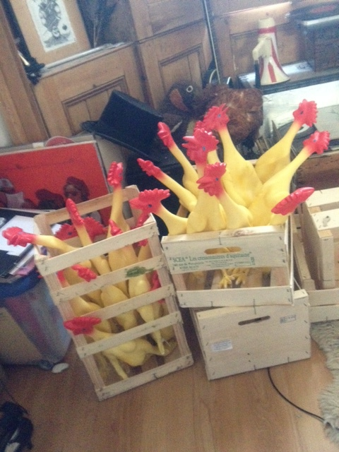 The first clutch of rubber chickens is joined by another 40 donated as a gift by a patron of the company. Bizarrely each one has a slightly different tone, yielding a terrifyingly plastic cacophany strangely apt for such a gaggle.