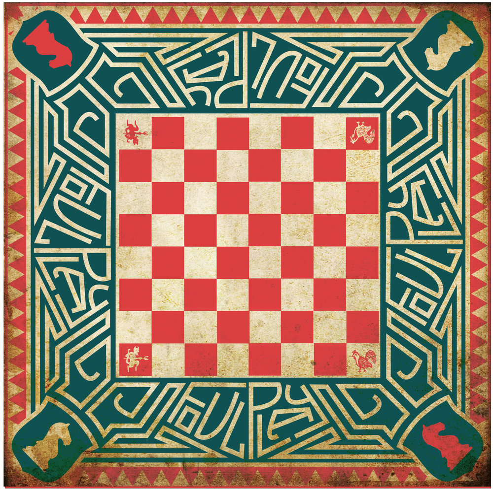 Design to be engraved on table top - a FoulPlay chess board, continuing the FoulPlay motif of chess, with this board being intended for use with the FoulPlay Fantastic Fox Hunt show, for the Fox & Hounds draughts game. Note the four knights, as a stronger continuity of the four horsemen emblem that features in all FoulPlay shows to date/