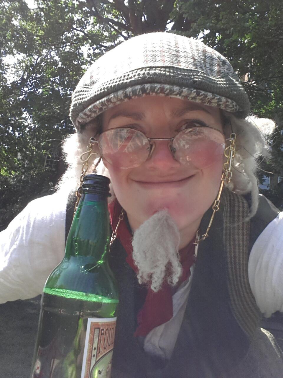 Annie Brooks as crotchety proprietor of the Devil's Orchard cider press. Photograph from  Abby Forknall