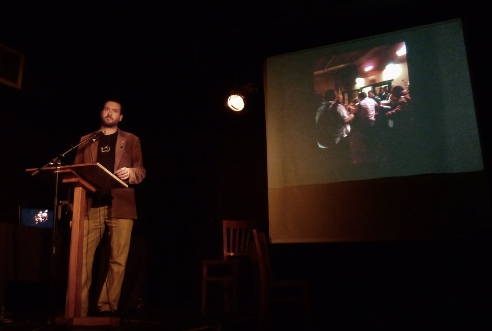 Ulysses Black delivers his presentation at the Catalyst Club in Brighton 2012.