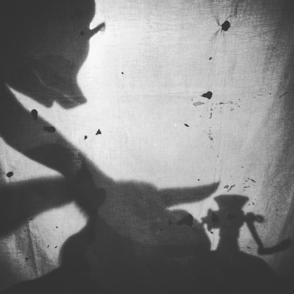 Silhouette  of Ulysses Black during development of visual themes and experimentation with shadow puppetry, Lyme Regis 2015