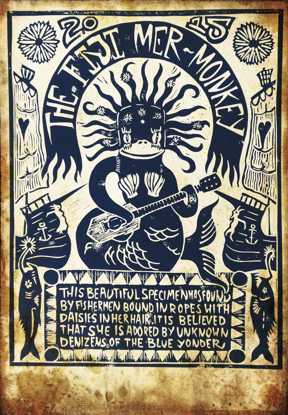 Lino Print by Ulysses Black of the sock-monkey version of a feejee-mermaid. Two angler fish with their lures intended to recall the siren song of the mermaid, again re-enforced by the odyssean figureheads pinned to the bows of the ship of love. The composition is also intended to be slightly suggestive of both the Priestess tarot card and the moon.
