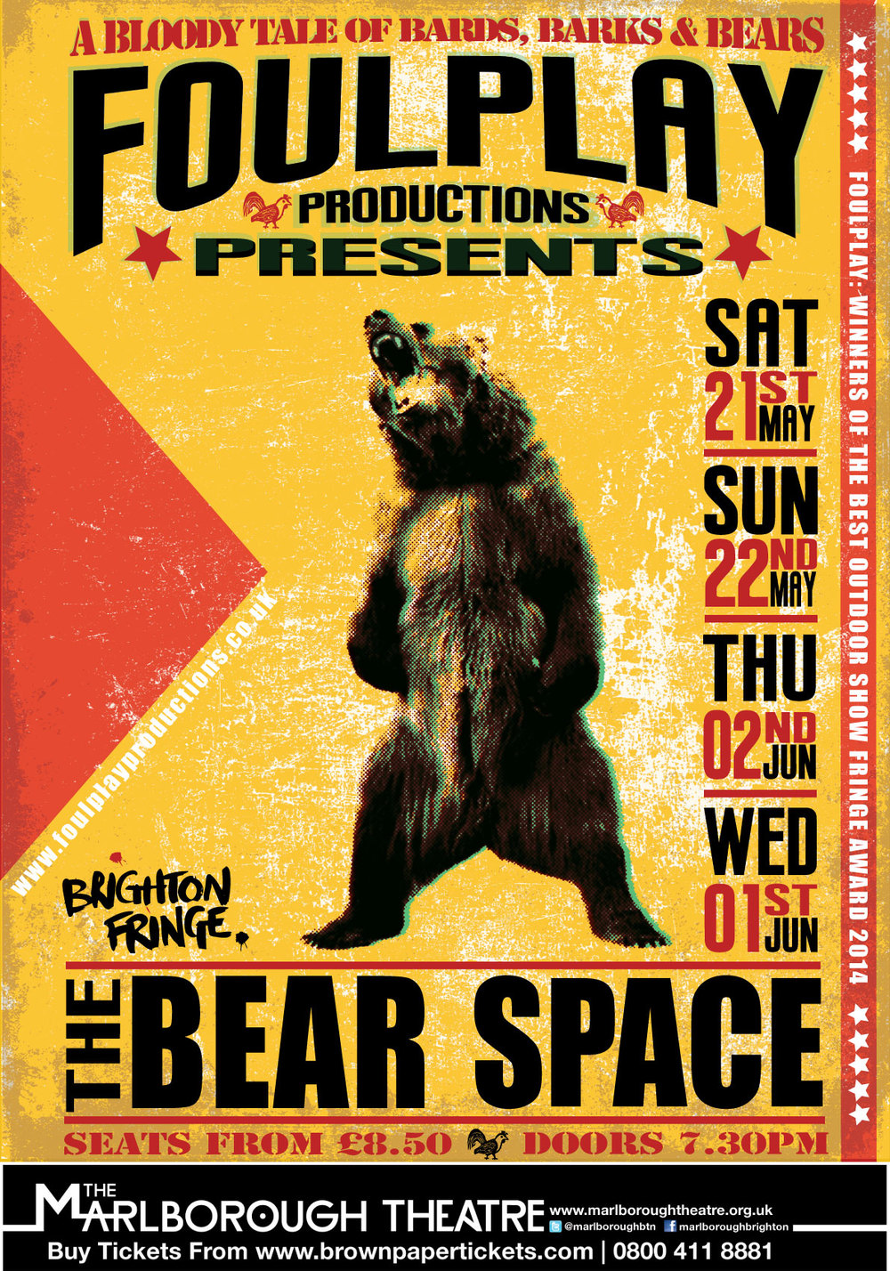 Bear Space poster, winning design as voted for by supporters of the FoulPlay facebook page. This version was intended to draw on poster artwork for classic boxing contests, as a part of the show sought to use modern mechanisms for stirring up the audience encouraging their frenzied fervor at this most savage blood sport.