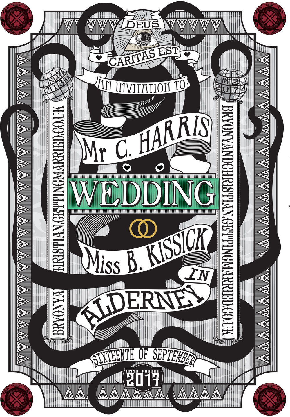 Wedding invitation for the Ravenscrofts