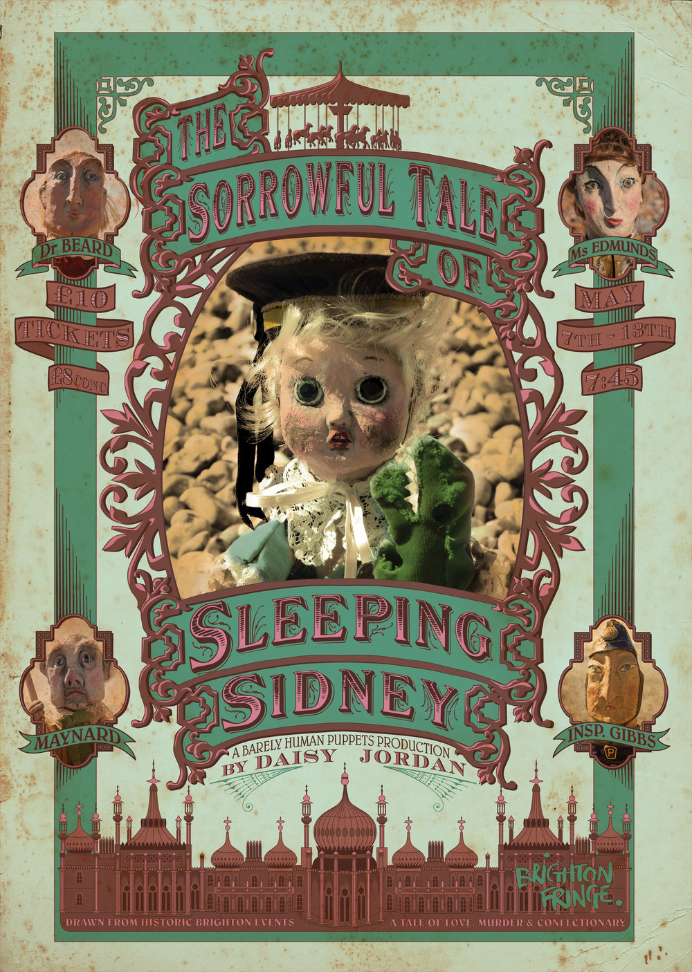 Poster for puppet show about the Brighton Chocolate Cream Poisoner of 1800s. Confectionery and Murder!
