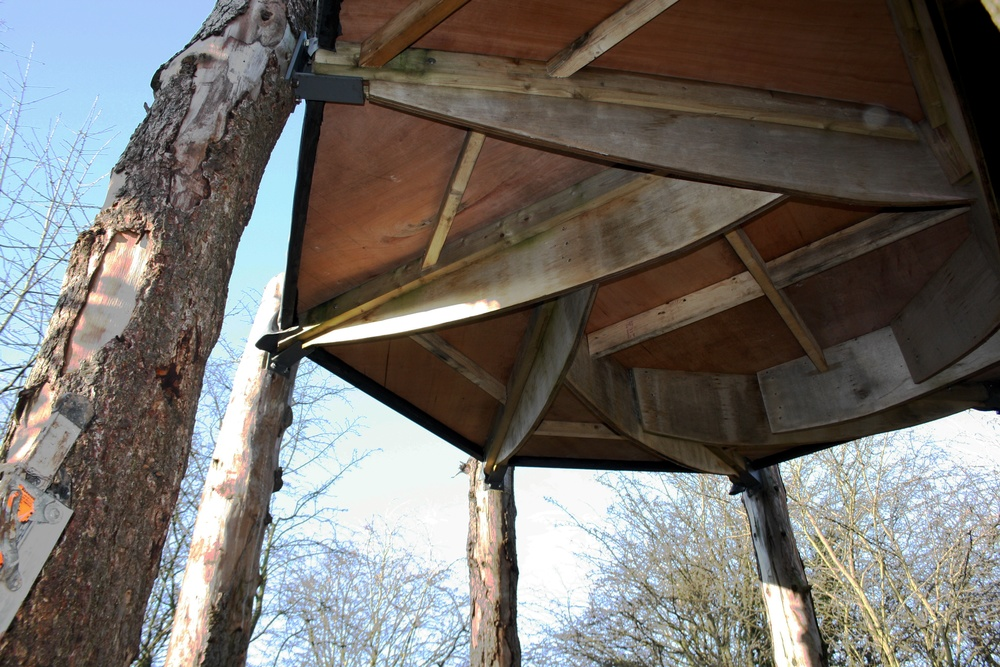 Self-build land shelter gets its roof