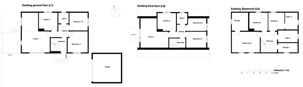Floor plans of the existing house (click for full view)