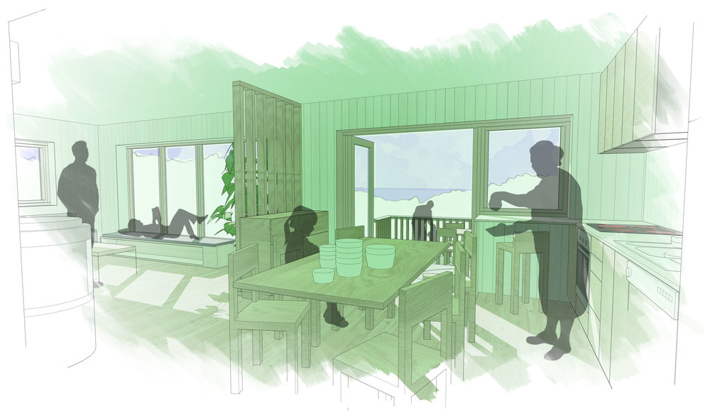 Sketch impression of the remodeled cabin, looking at the fjord from the playroom