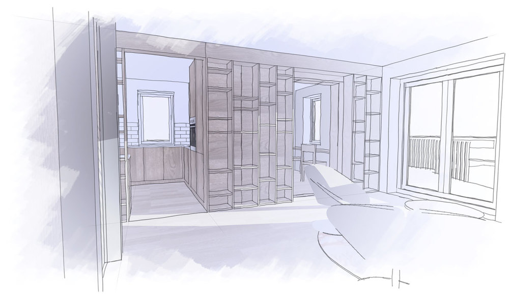 Sketch view of the lounge, from the hallway