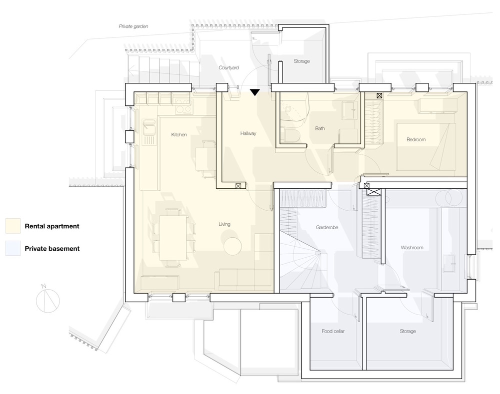 The remodelled basement, with its separate rental apartment