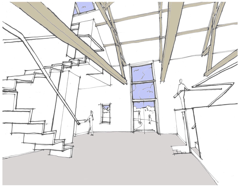 Sketch perspective of the converted barn, looking across the main living space