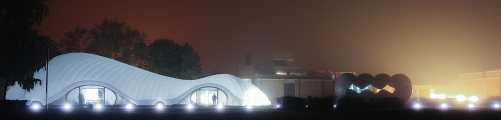 Our shortlisted pavilion at night, next to the Lille Museum of Modern Art and its sculpture park