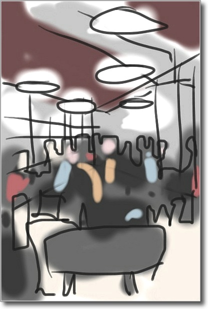 A doodle using Autodesk's SketchBook app on the iPod Touch, in which I tried to capture the atmosphere of the cafe without worrying over detail. If the sketch looks a little soulless and cold, then I have succeeded.