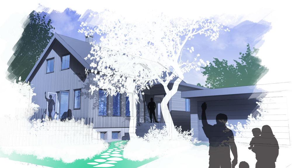 Sketch view of the redesigned home, approaching the new entrance