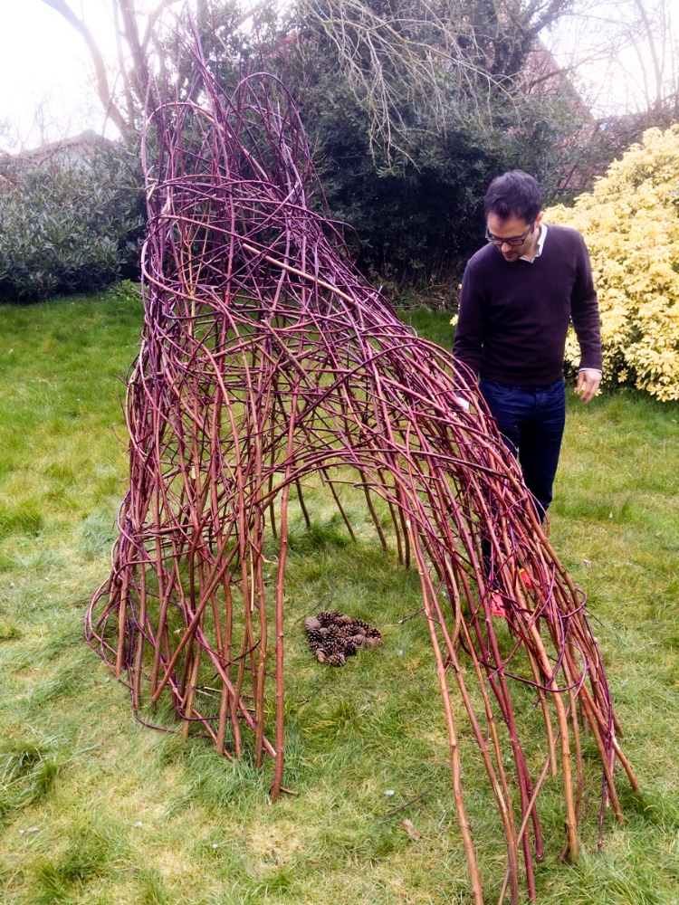 The structure of woven maple shoots we ended up with...