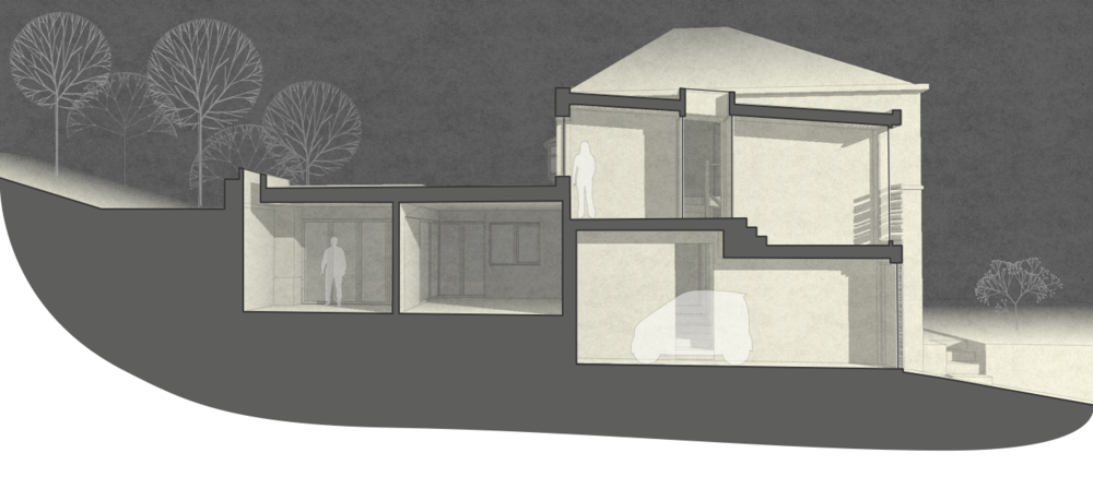The extension sits into the sloping site to protect neighbours' views and daylight