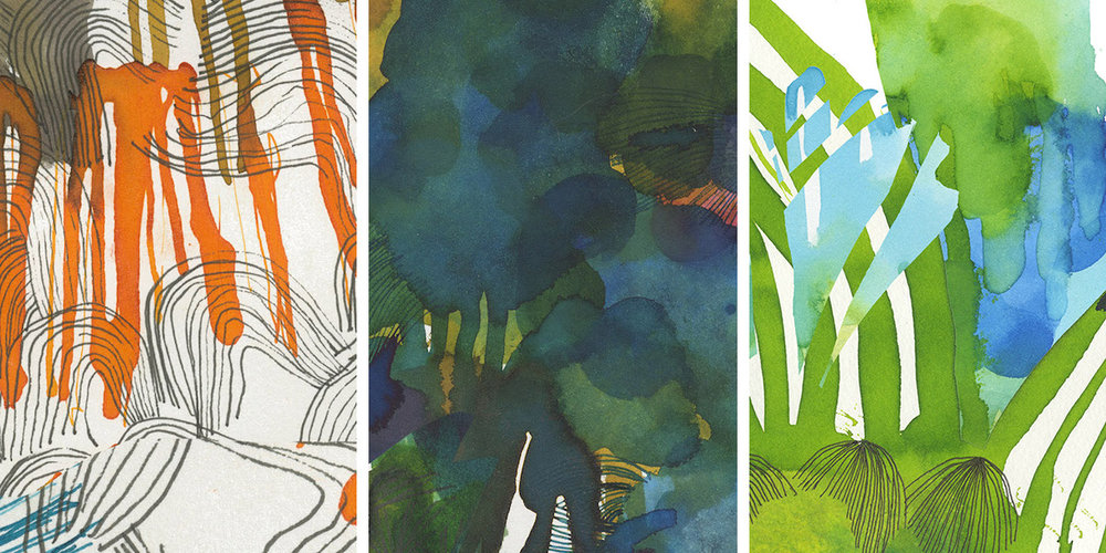 Details of some of the watercolour images hand-painted by  Qubo Gas  and used by our programme to generate the animated projections on the paper canvas.