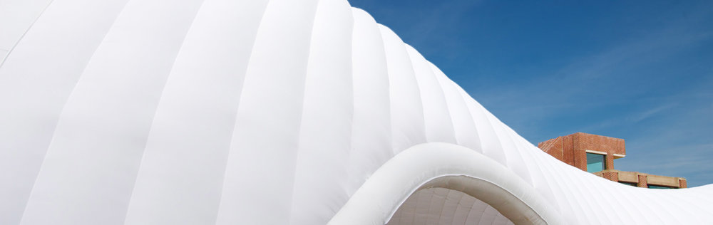 The pavilion's diaphanous inflatable skin