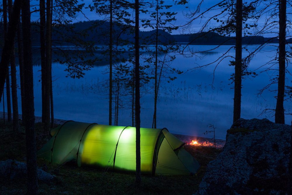 Evening falls at the camp and the sound of the black-throated loon, Gavia arctica, calls out across the lake.