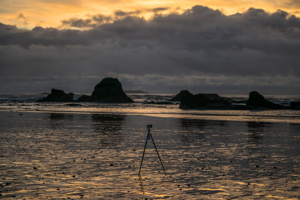 Taking in the day's last light at Ruby Beach, as my Globetrotter Air shoots a photo timelapse of the waves and sea stacks.