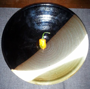Black and White raised bowl, with Habanero